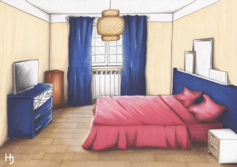 """Croquis colorisé """"Une Chambre Parentale Enveloppante"""""""