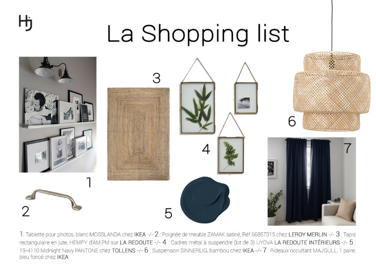 "Shopping list ""Une Chambre Parentale Enveloppante"""